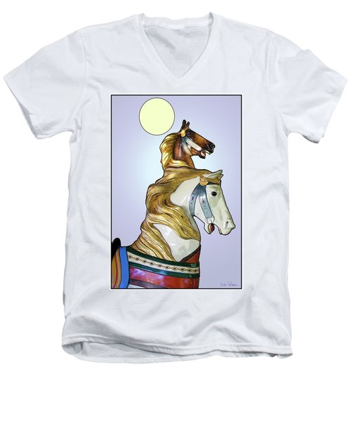 Greeting The Moon Men's V-Neck T-Shirt by Lise Winne