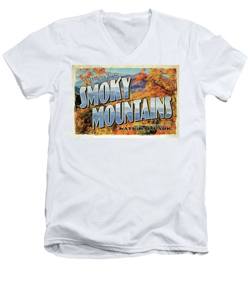 Greetings From Smoky Mountains National Park Men's V-Neck T-Shirt