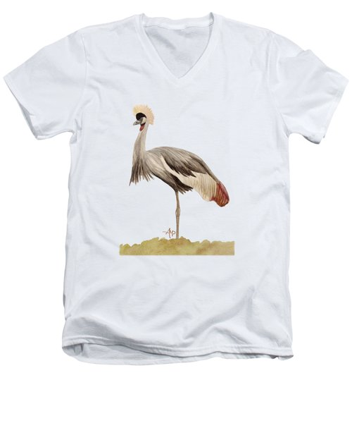 Grey Crowned Crane Men's V-Neck T-Shirt by Angeles M Pomata