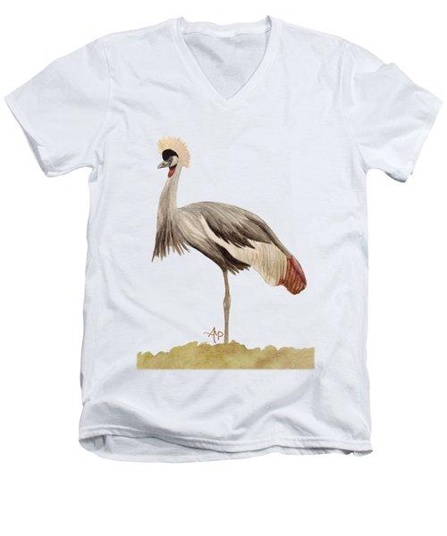 Grey Crowned Crane Men's V-Neck T-Shirt