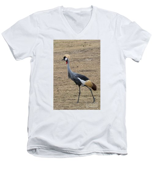 Men's V-Neck T-Shirt featuring the photograph Grey Crowned Crane In The Wild by Pravine Chester