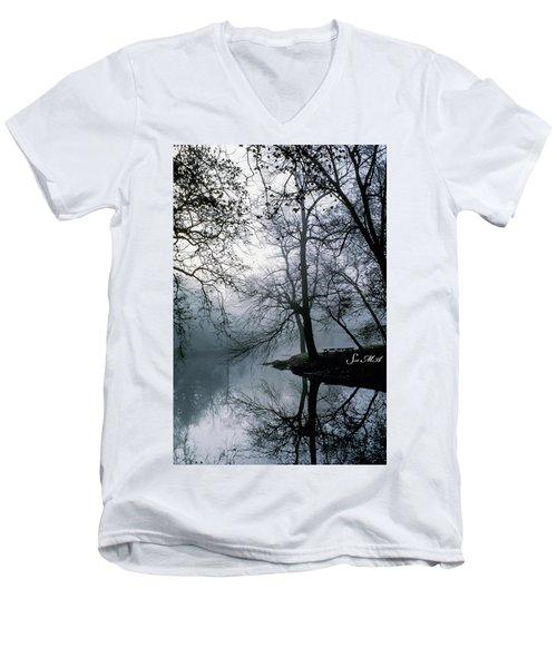Grings Mill Fog 1043 Men's V-Neck T-Shirt by Scott McAllister