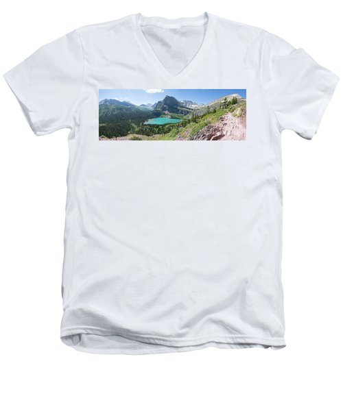 Grinnell Lake Panoramic - Glacier National Park Men's V-Neck T-Shirt