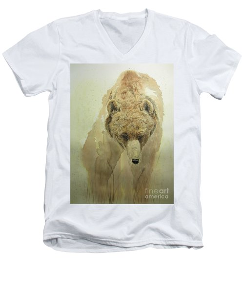 Grizzly Bear1 Men's V-Neck T-Shirt by Laurianna Taylor