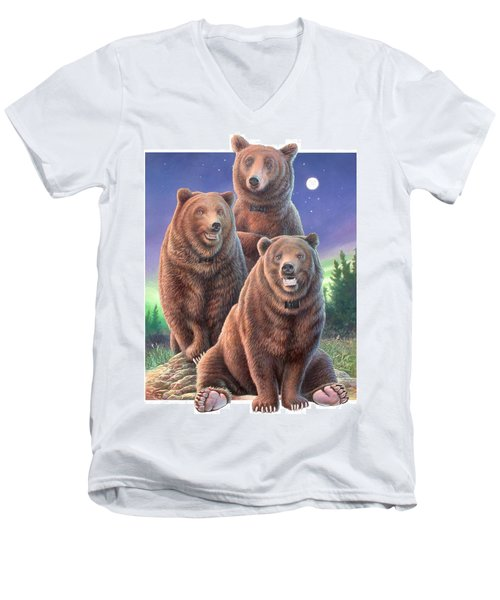 Grizzly Bears In Starry Night Men's V-Neck T-Shirt by Hans Droog