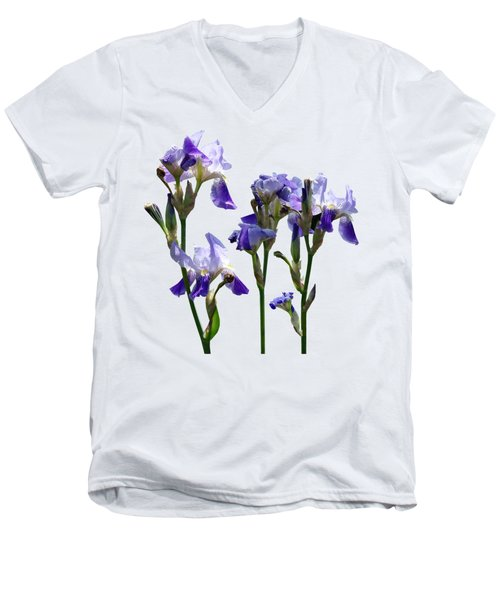 Group Of Purple Irises Men's V-Neck T-Shirt by Susan Savad