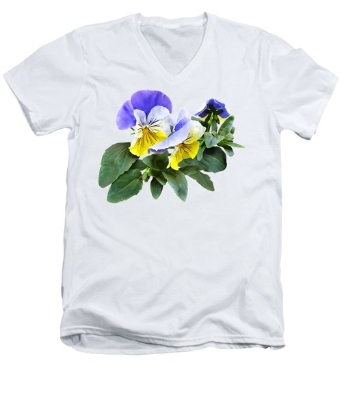 Group Of Yellow And Purple Pansies Men's V-Neck T-Shirt