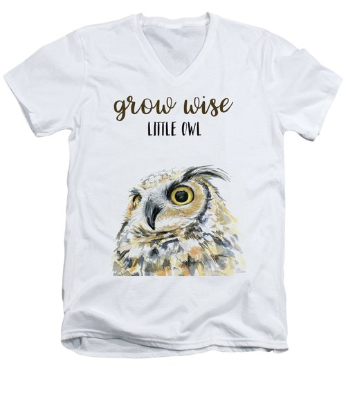 Grow Wise Little Owl Men's V-Neck T-Shirt
