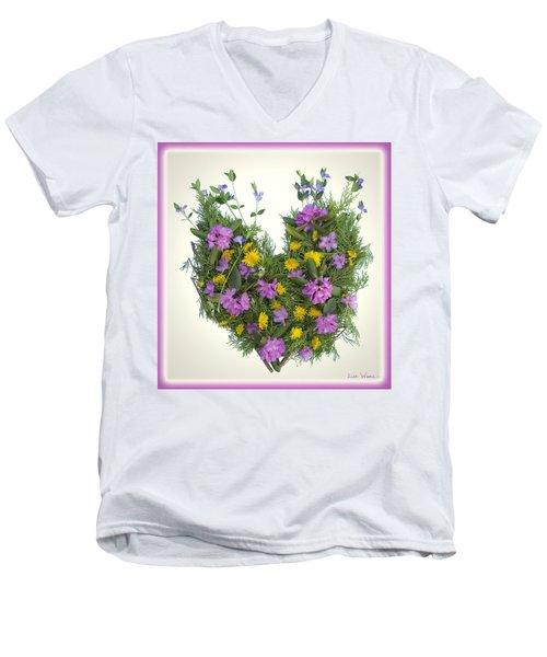 Growing Heart Men's V-Neck T-Shirt by Lise Winne