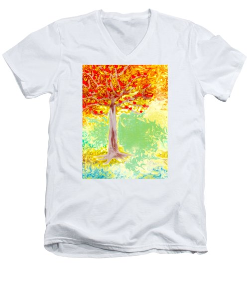 Growing Love Men's V-Neck T-Shirt by Claudia Ellis