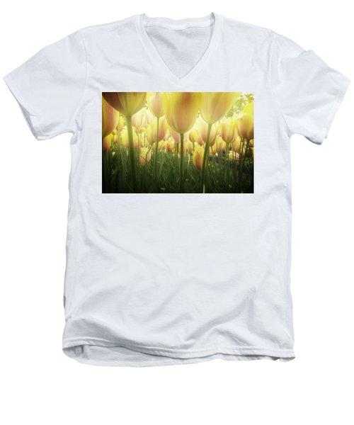 Growing  Tulips  Men's V-Neck T-Shirt by Anastasy Yarmolovich