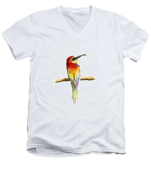 Men's V-Neck T-Shirt featuring the painting Gruccione  - Bee Eater - Merops Apiaster by Raffaella Lunelli