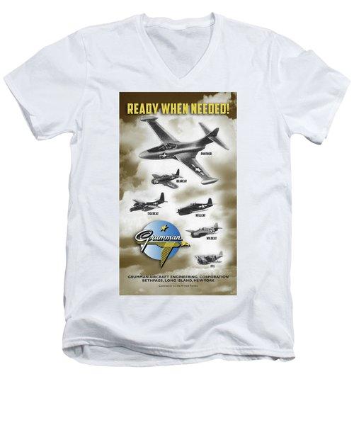 Grumman Ready When Needed Men's V-Neck T-Shirt