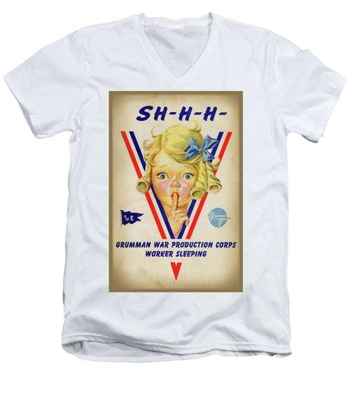Grumman Worker Sleeping Poster Men's V-Neck T-Shirt