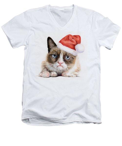 Grumpy Cat As Santa Men's V-Neck T-Shirt by Olga Shvartsur