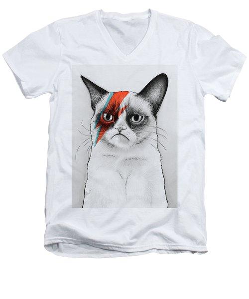 Grumpy Cat Portrait Men's V-Neck T-Shirt
