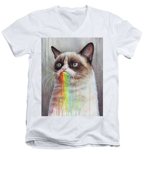 Grumpy Cat Tastes The Rainbow Men's V-Neck T-Shirt