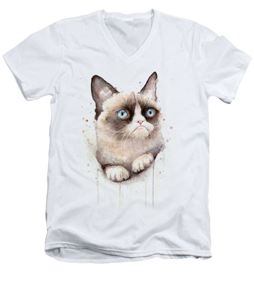 Grumpy Cat Watercolor Men's V-Neck T-Shirt by Olga Shvartsur