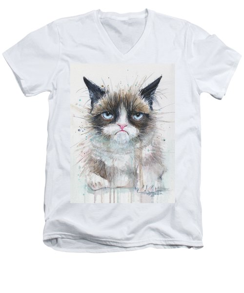 Grumpy Cat Watercolor Painting  Men's V-Neck T-Shirt