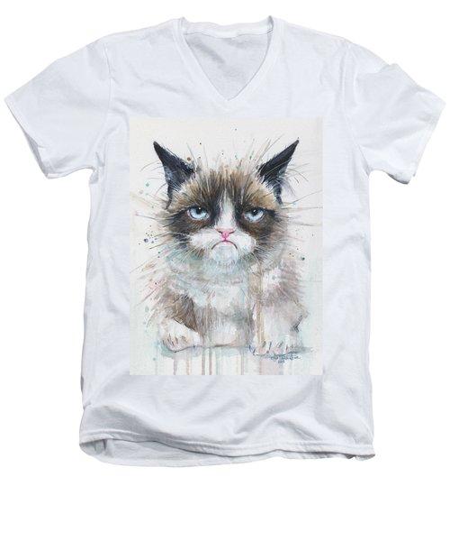 Grumpy Cat Watercolor Painting  Men's V-Neck T-Shirt