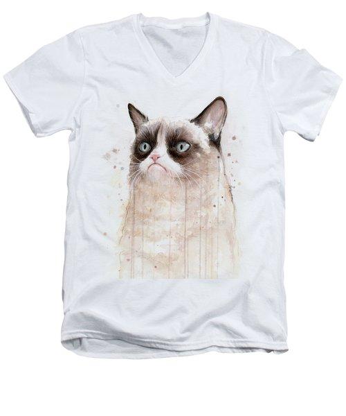 Grumpy Watercolor Cat Men's V-Neck T-Shirt