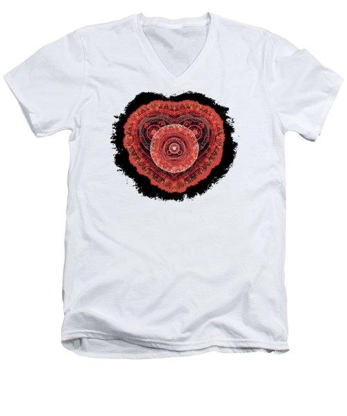 Grunge Fractal Heart Men's V-Neck T-Shirt