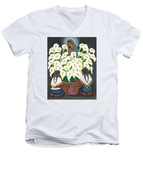 Guadalupe Visits Diego Rivera Men's V-Neck T-Shirt by James Roderick
