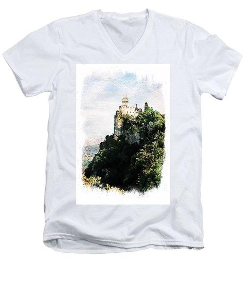 Guaita Castle Fortress Men's V-Neck T-Shirt by Joseph Hendrix