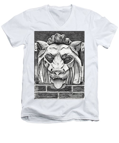 Men's V-Neck T-Shirt featuring the drawing Guardian Lion by Terri Mills