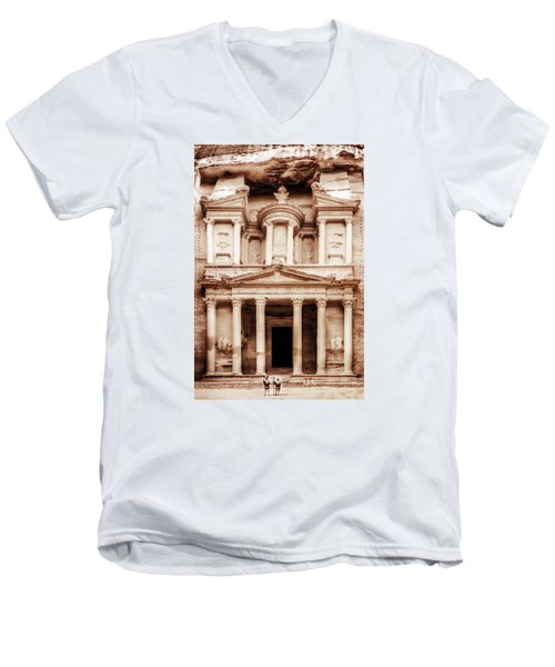 Men's V-Neck T-Shirt featuring the photograph Guarding The Petra Treasury by Nicola Nobile