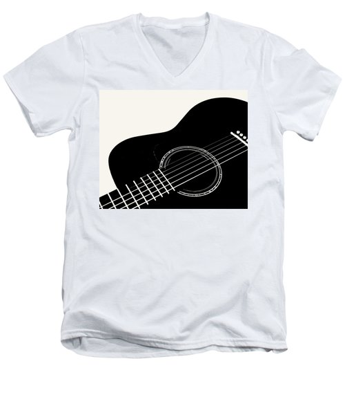 Guitar, Black And White,  Men's V-Neck T-Shirt by Jana Russon