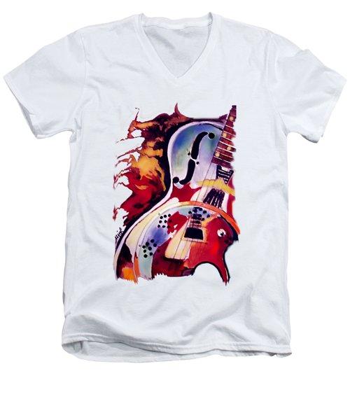 Guitar Flow Men's V-Neck T-Shirt by Melanie D