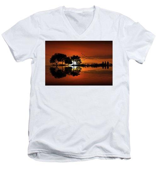 Guitar Landscape At Sunset Men's V-Neck T-Shirt