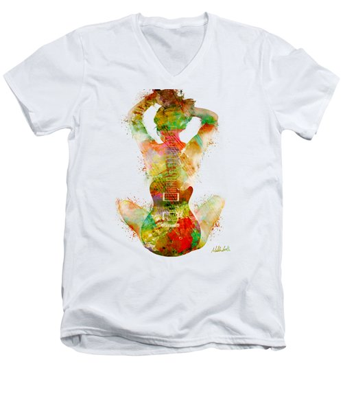 Guitar Siren Men's V-Neck T-Shirt by Nikki Smith