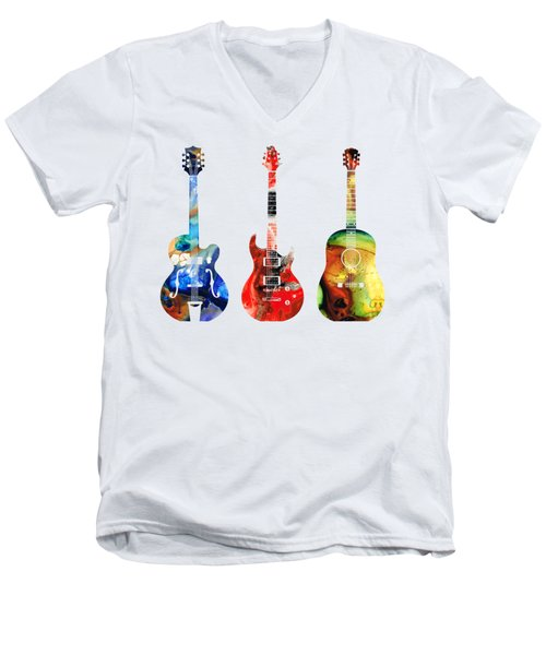 Men's V-Neck T-Shirt featuring the painting Guitar Threesome - Colorful Guitars By Sharon Cummings by Sharon Cummings