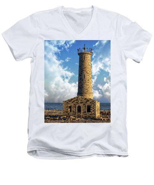 Gull Island Lighthouse Men's V-Neck T-Shirt