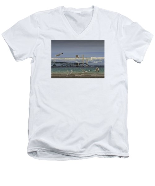 Gulls Flying By The Bridge At The Straits Of Mackinac Men's V-Neck T-Shirt