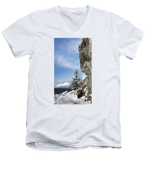 Gulls Of Winter Men's V-Neck T-Shirt by Michele Cornelius