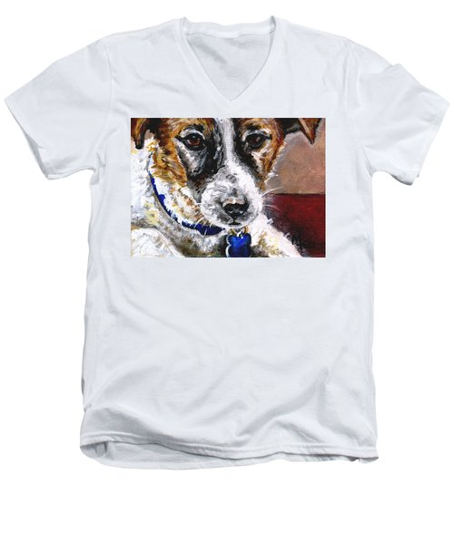 Gunter From Muttville Men's V-Neck T-Shirt by Mary-Lee Sanders
