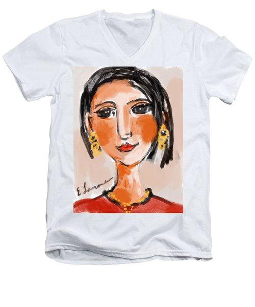 Gypsy Lady Men's V-Neck T-Shirt by Elaine Lanoue