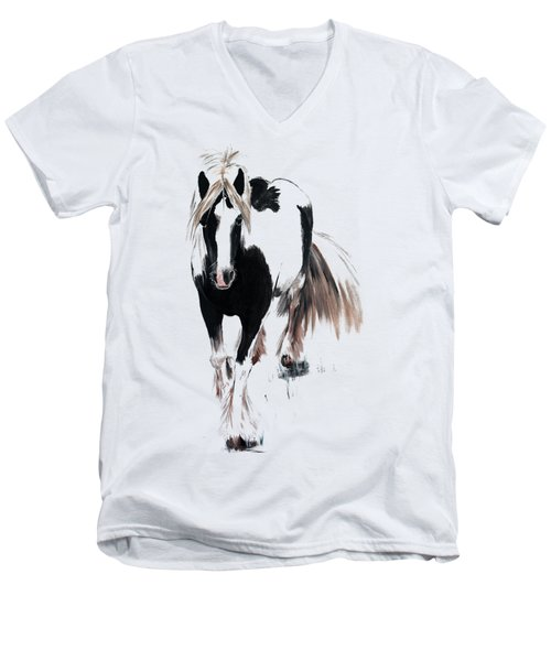 Men's V-Neck T-Shirt featuring the painting Gypsy Vanner by Isabella F Abbie Shores FRSA