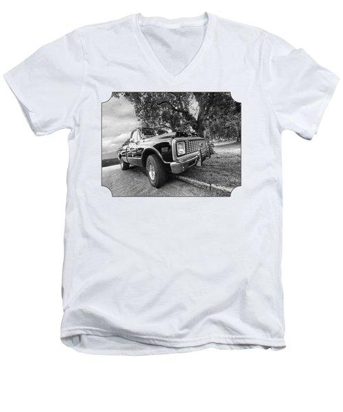 Halcyon Days - 1971 Chevy Pickup Bw Men's V-Neck T-Shirt by Gill Billington