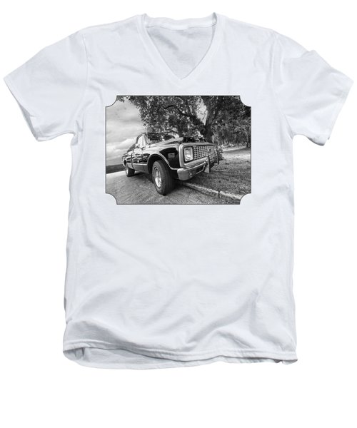Halcyon Days - 1971 Chevy Pickup Bw Men's V-Neck T-Shirt