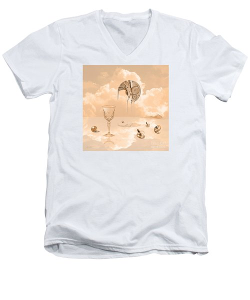 Men's V-Neck T-Shirt featuring the digital art Beyond Time by Alexa Szlavics