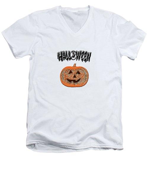 Halloween Pumpkin Men's V-Neck T-Shirt by Judy Hall-Folde