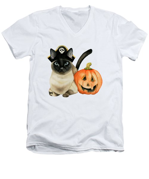 Halloween Siamese Cat With Jack O' Lantern Men's V-Neck T-Shirt