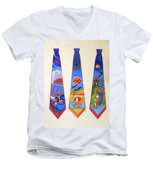 Halloween Ties Men's V-Neck T-Shirt by Tracy Dennison