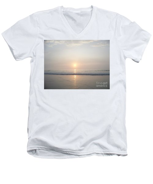Men's V-Neck T-Shirt featuring the photograph Hampton Beach Sunrise by Eunice Miller