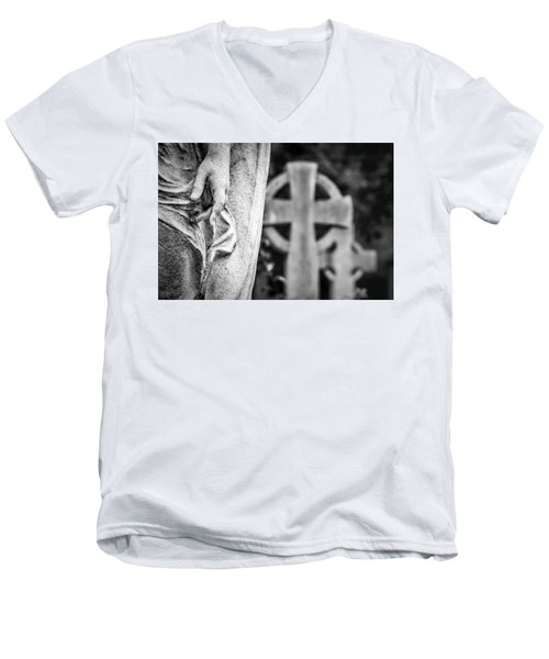 Men's V-Neck T-Shirt featuring the photograph Hand And Cross by Sonny Marcyan