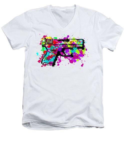 Handgun Pop Art Men's V-Neck T-Shirt
